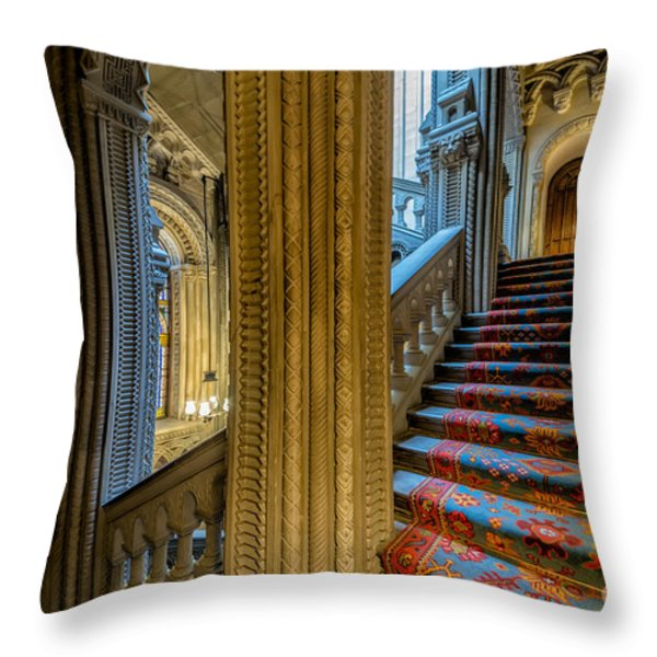 Mansion Stairway Throw Pillow by Adrian Evans