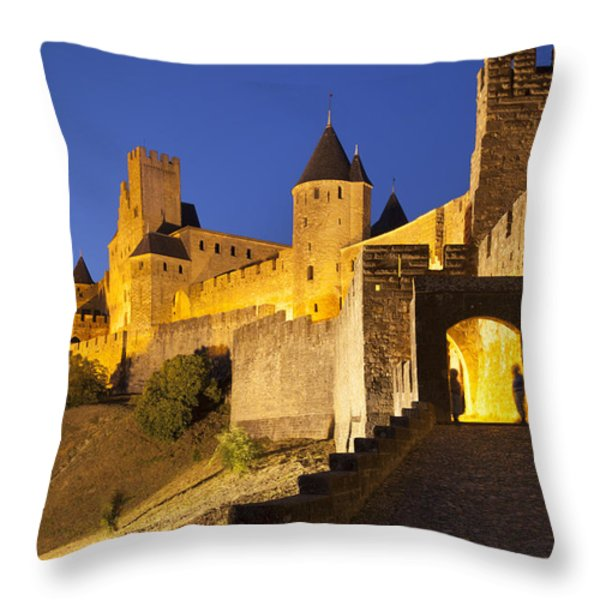 Medieval Carcassonne Throw Pillow by Brian Jannsen