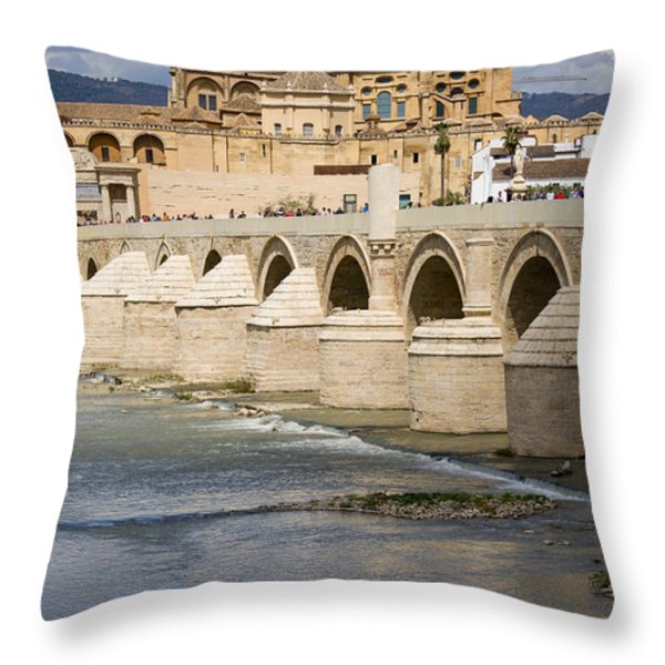 Mezquita And Roman Bridge In Cordoba Throw Pillow by Artur Bogacki