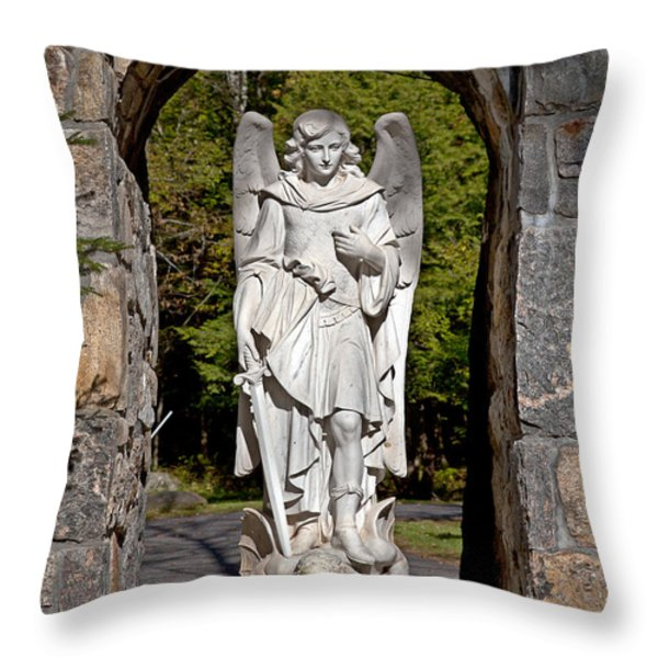 Michael Defeats Lucifer Throw Pillow by Terry Reynoldson