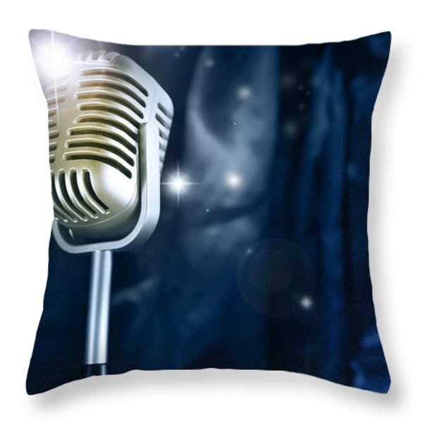 Microphone Throw Pillow by Les Cunliffe