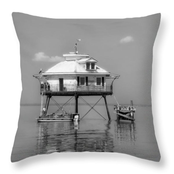 Mobile Bay Lighthouse Throw Pillow by Mountain Dreams