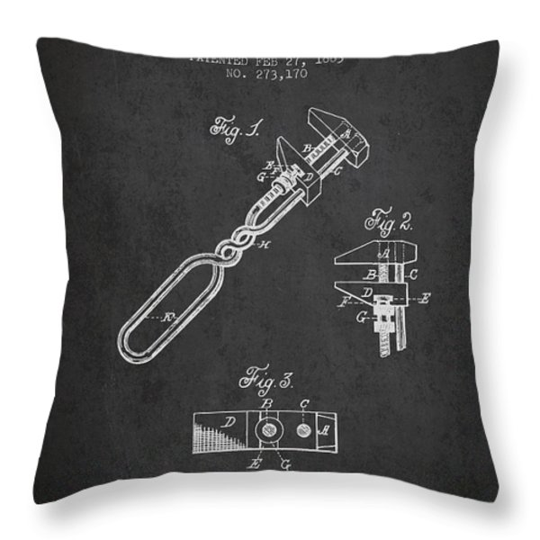 Monkey Wrench Patent Drawing From 1883 Throw Pillow by Aged Pixel