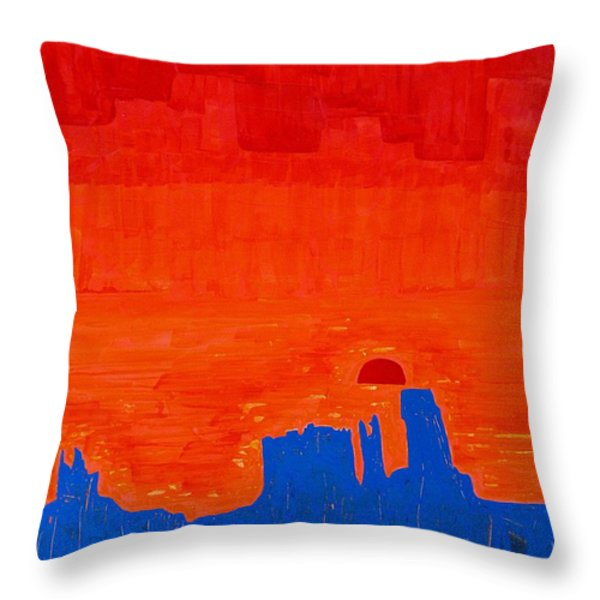 Monument Valley Original Painting Throw Pillow by Sol Luckman