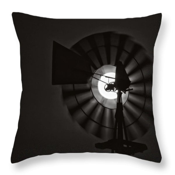 Mooned Windmill Throw Pillow by Kevin Anderson