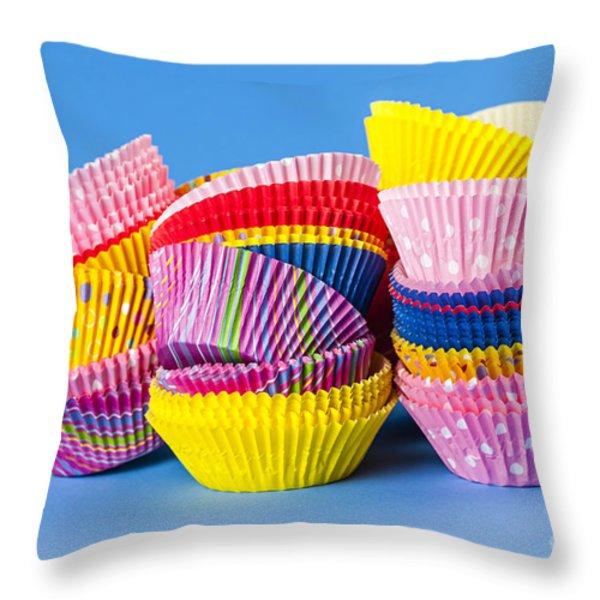 Muffin Cups Throw Pillow by Elena Elisseeva