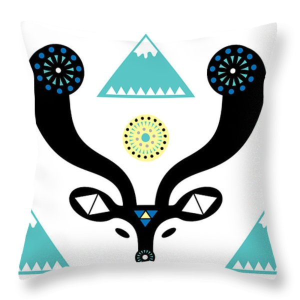 Navajo Deer Throw Pillow by Susan Claire