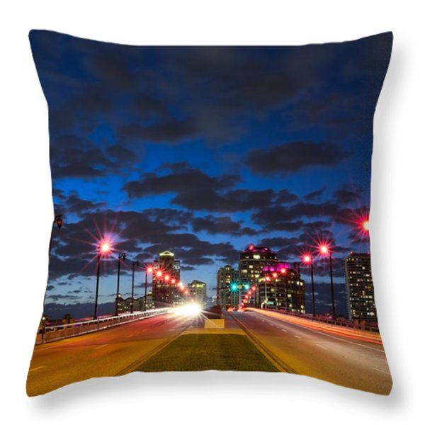 Night Lights Throw Pillow by Debra and Dave Vanderlaan
