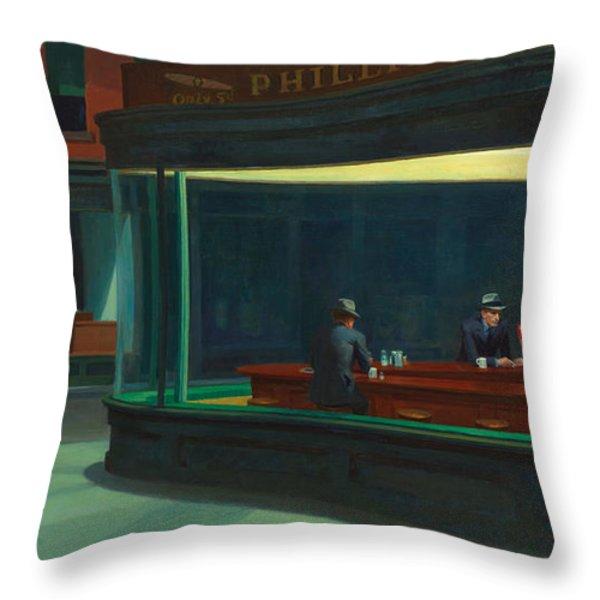 Nighthawks Throw Pillow by Edward Hopper