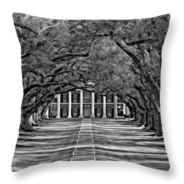 Oak Alley bw Throw Pillow by Steve Harrington