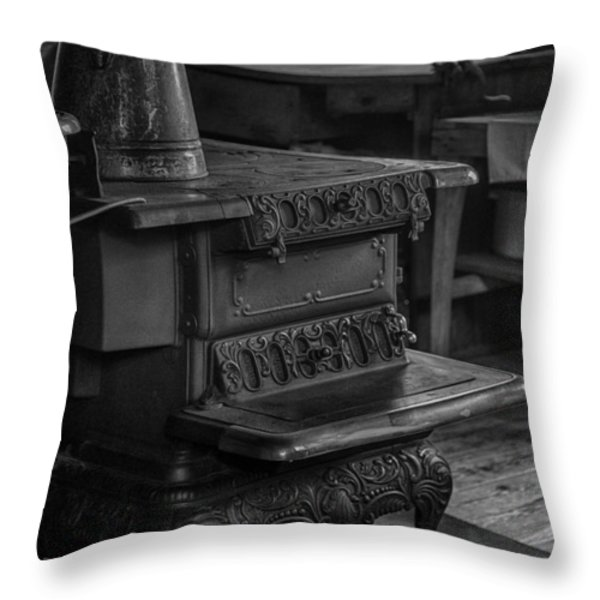 Old Farm Kitchen And Wood Burning Stove Throw Pillow by Lynn Palmer