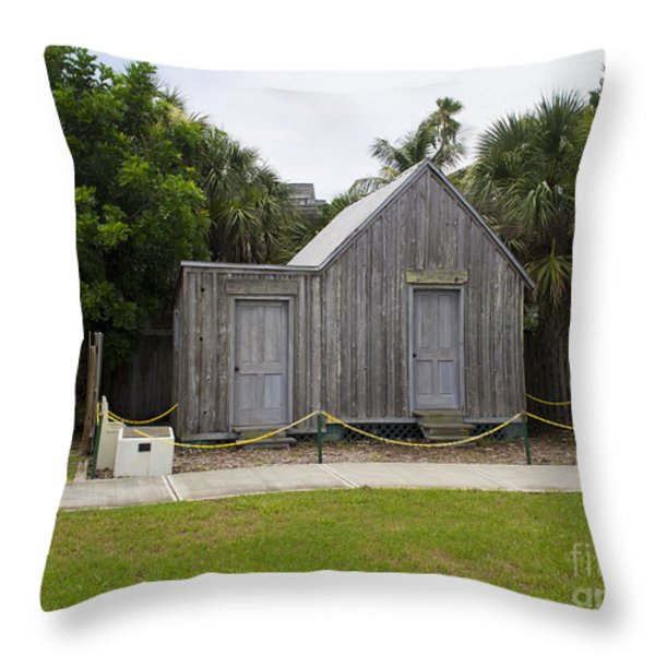 Old Post Office in Melbourne Beach Throw Pillow by Allan  Hughes