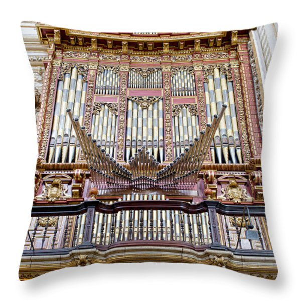 Organ in Cordoba Cathedral Throw Pillow by Artur Bogacki