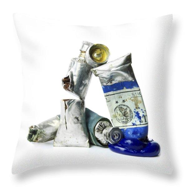 Paint Tube Throw Pillow by Bernard Jaubert