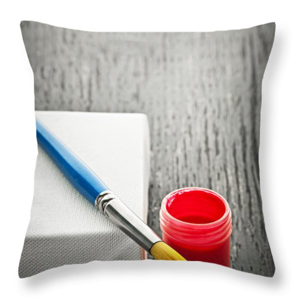 Paintbrush on canvas Throw Pillow by Elena Elisseeva