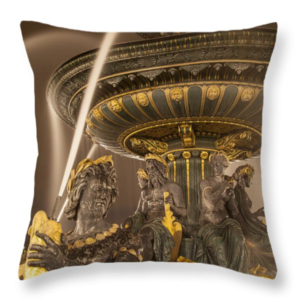 Paris Fountain Throw Pillow by Brian Jannsen