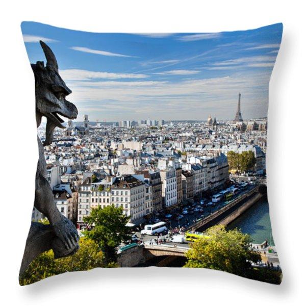 Paris Panorama France Throw Pillow by Michal Bednarek
