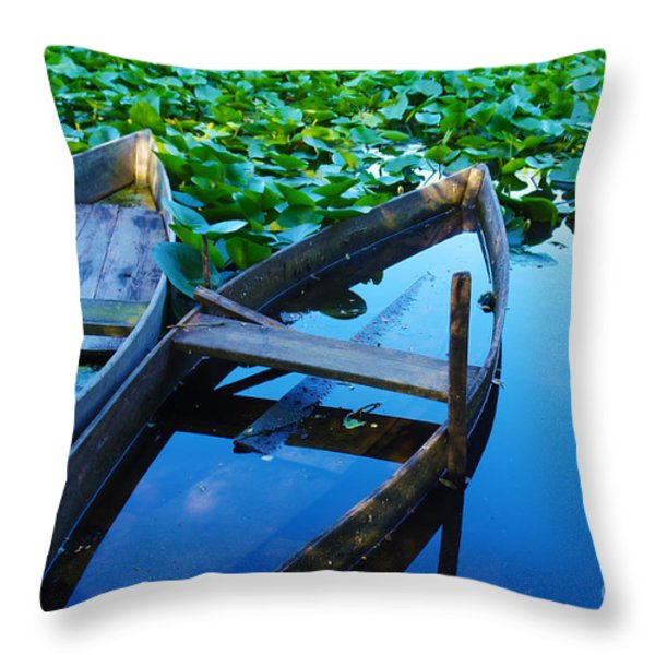 Pateira Boats Throw Pillow by Carlos Caetano
