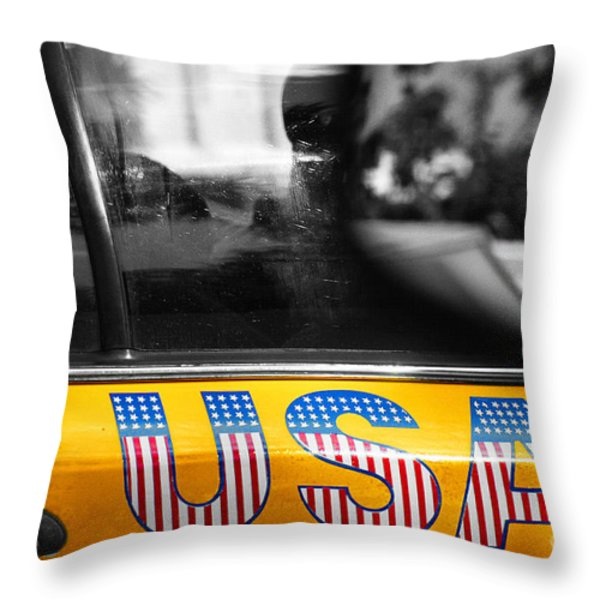 Patriotic Usa Taxi Throw Pillow by Anahi DeCanio