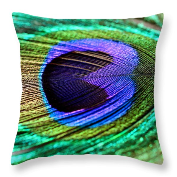 Peacock Feather Throw Pillow by Heike Hultsch