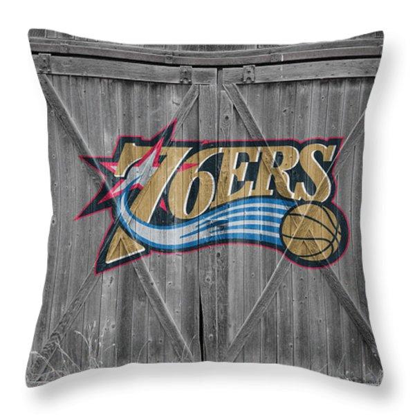 PHILADELPHIA 76ERS Throw Pillow by Joe Hamilton