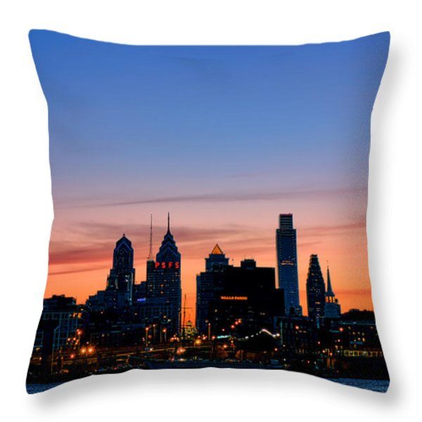 Philadelphia Dusk Throw Pillow by Olivier Le Queinec