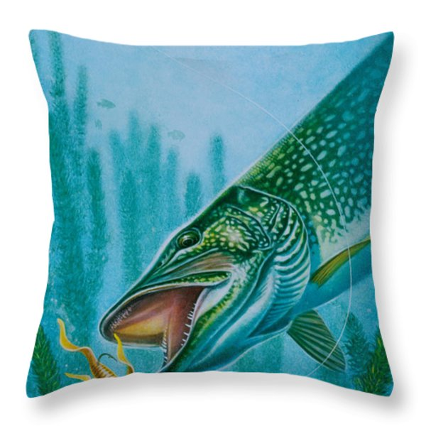 Pike And Jig Throw Pillow by Jon Q Wright