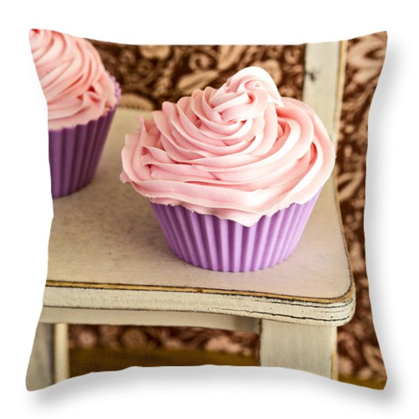 Pink Cupcakes Throw Pillow by Edward Fielding