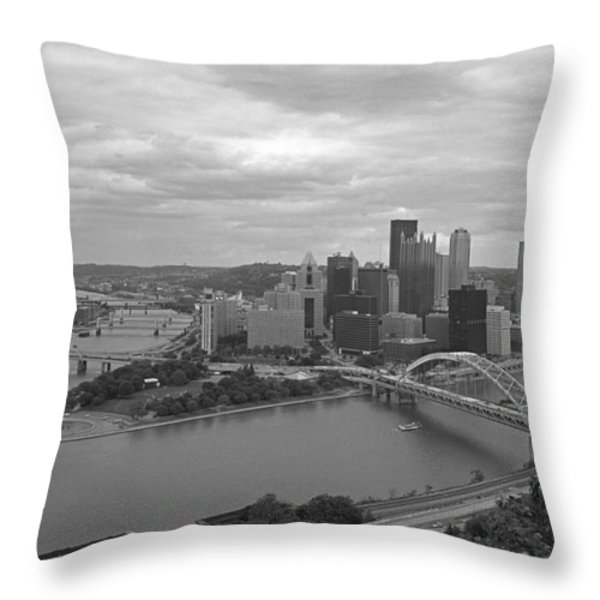 Pittsburgh - View Of The Three Rivers Throw Pillow by Frank Romeo