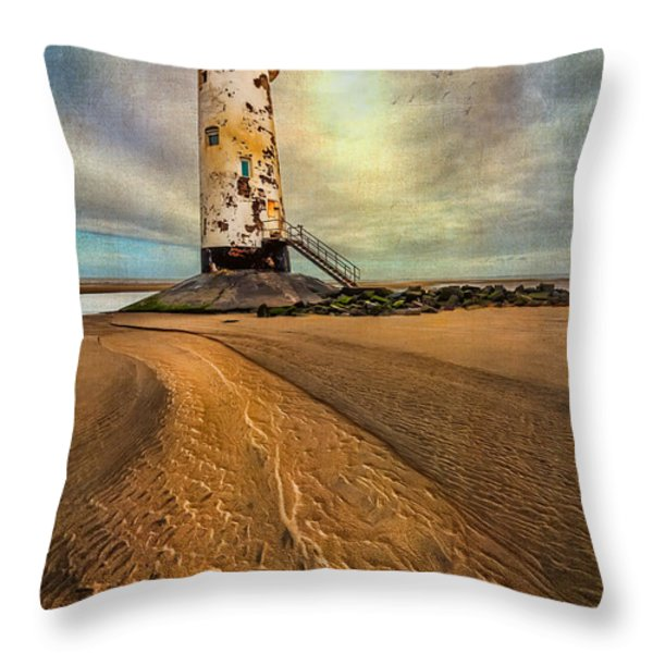 Point of Ayre Lighthouse Throw Pillow by Adrian Evans