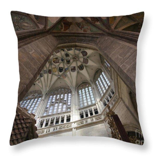 pointed vault of Saint Barbara church Throw Pillow by Michal Boubin