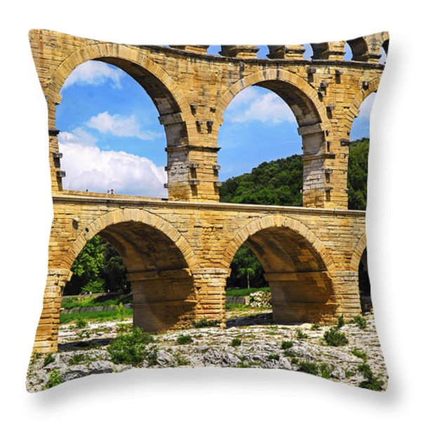 Pont Du Gard In Southern France Throw Pillow by Elena Elisseeva