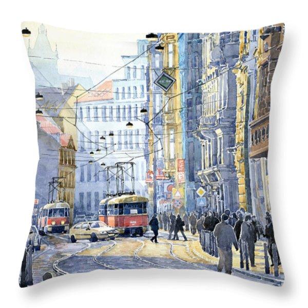 Prague Vodickova Str  Throw Pillow by Yuriy  Shevchuk