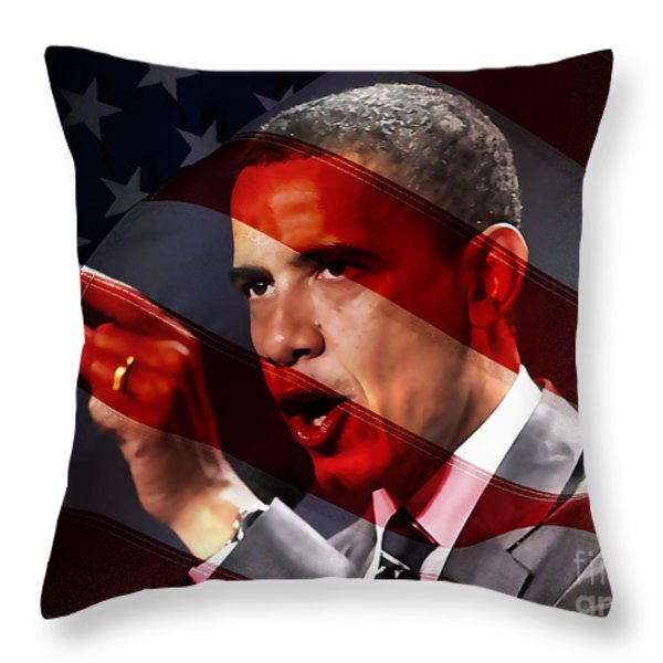 President Barack Obama Throw Pillow by Marvin Blaine