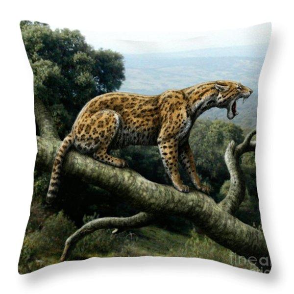 Promegantereon Sabretooth Cat Throw Pillow by Mauricio Anton