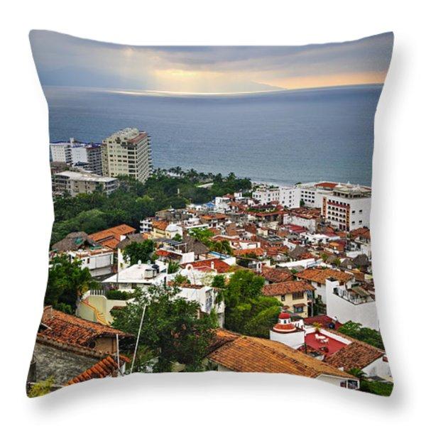 Puerto Vallarta And Pacific Ocean Throw Pillow by Elena Elisseeva