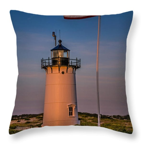 Race Point Lighthouse And Old Glory Throw Pillow by Susan Candelario