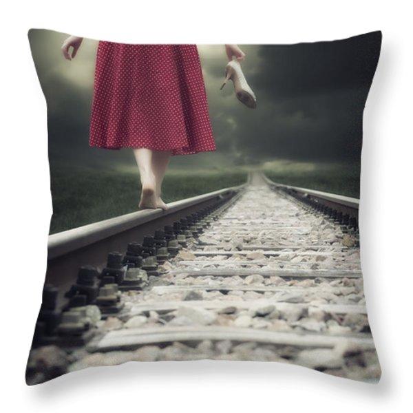 railway tracks Throw Pillow by Joana Kruse