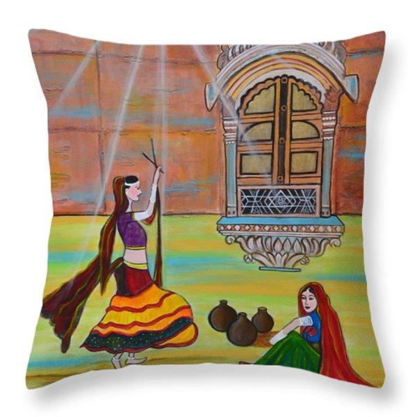 Rajasthani Ladies-dandiya Throw Pillow by Manjiri Kanvinde