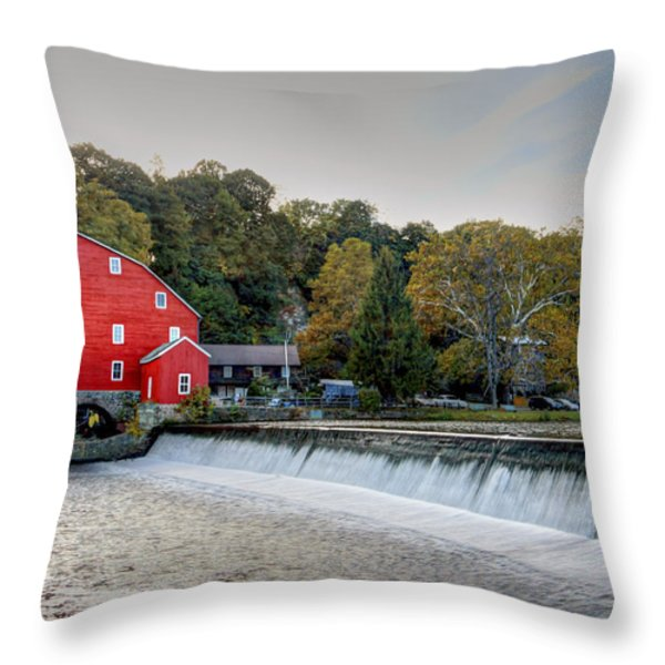Red Mill Clinton Nj Throw Pillow by Geraldine Scull