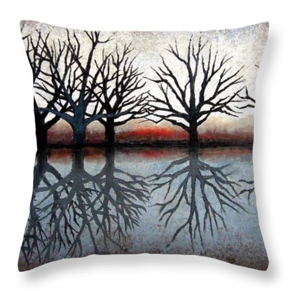 Reflecting Trees Throw Pillow by Janet King
