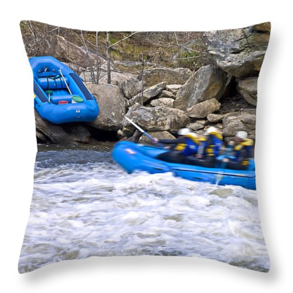River Rafting Throw Pillow by Susan Leggett