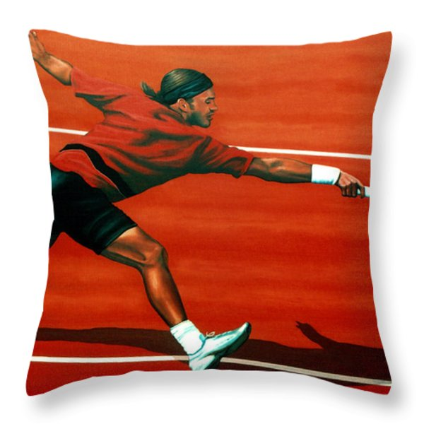Roger Federer Throw Pillow by Paul  Meijering