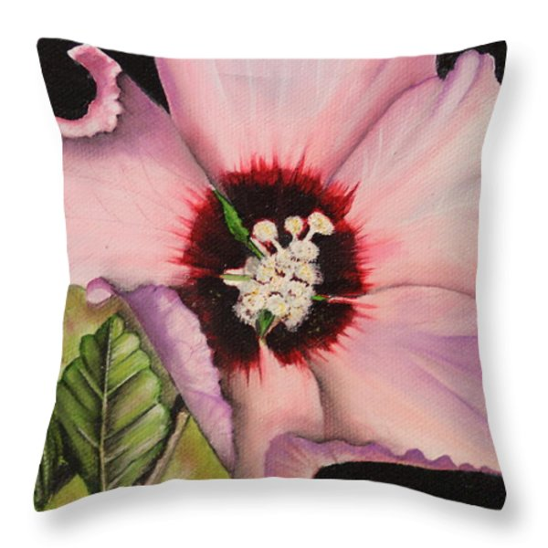 Rose of Sharon Throw Pillow by Karen Beasley