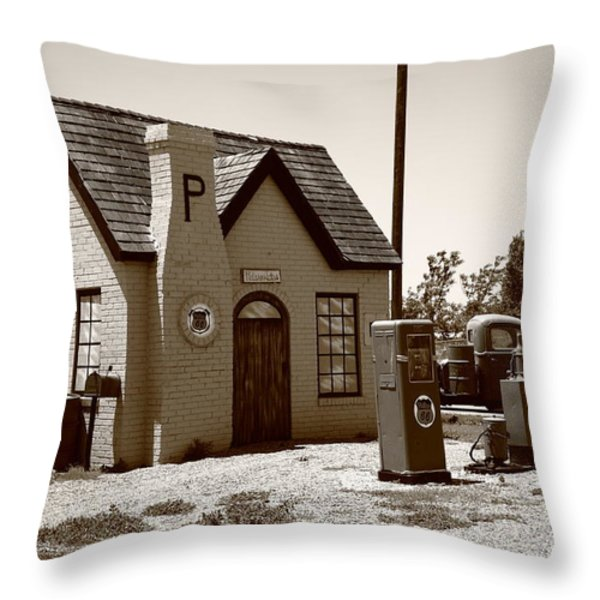 Route 66 - Phillips 66 Gas Station Throw Pillow by Frank Romeo