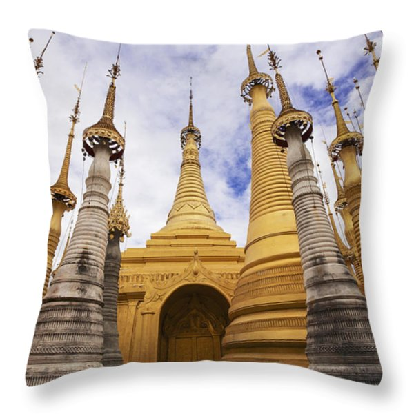 Ruined Pagodas At Shwe Inn Thein Paya Throw Pillow by Chris Caldicott