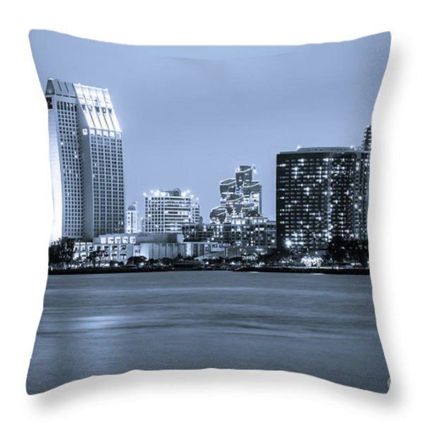 San Diego at Night Throw Pillow by Paul Velgos