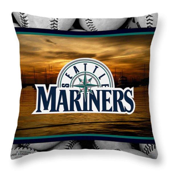 SEATTLE MARINERS Throw Pillow by Joe Hamilton