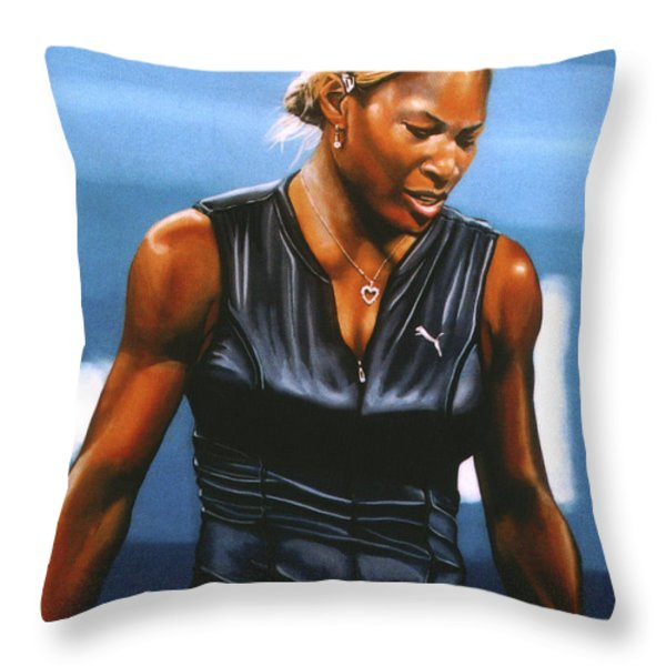 Serena Williams Throw Pillow by Paul  Meijering