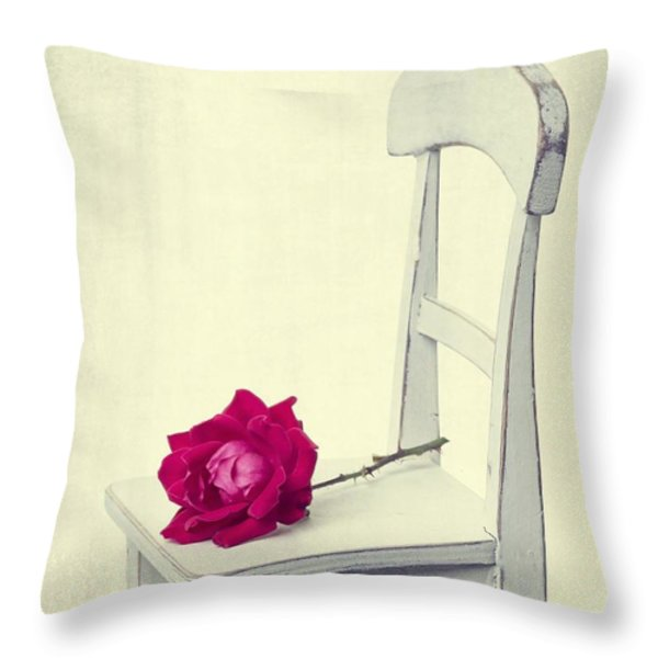 Single Red Rose Throw Pillow by Edward Fielding